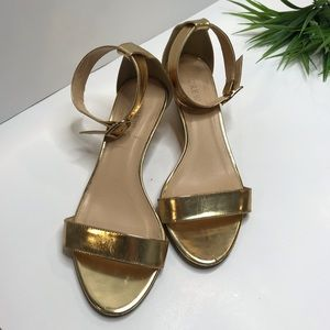 J Crew gold wedge strap sandals size 8